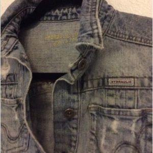 Hydraulic super destroyed denim jacket size small
